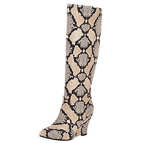 Stiefel Damen Keilabsatz Langschaft Hohe Stiefel Schlange Muster PU Schuhe Spitzschuhe Slip On Long Boots Damenschuhe (38 EU, Gelb)