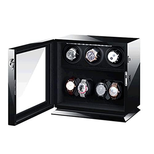 WRNM Cajas Giratorias para Relojes Motor Clase Alta De 7 Ranuras 5 Modos Rotación Caja Almacenamiento Lujo Madera Pintura Piano De Lujo