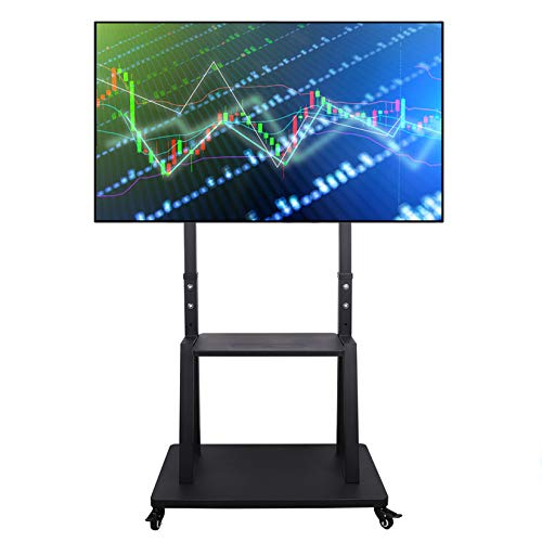unho Tall TV Cart Mobile TV Stand with Mount Adjustable Height, Lockable Casters and AV Shelves for Extra Large Flat Panel Screen up to 100 Inch VESA 800x600 Load 176lbs