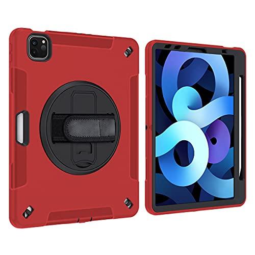 Lobwerk Funda 4 en 1 para Apple iPad Air 4 4th Generation A2072/A2316/A2324/A2325 de 10,9 pulgadas con protector de pantalla y correa de mano, color rojo