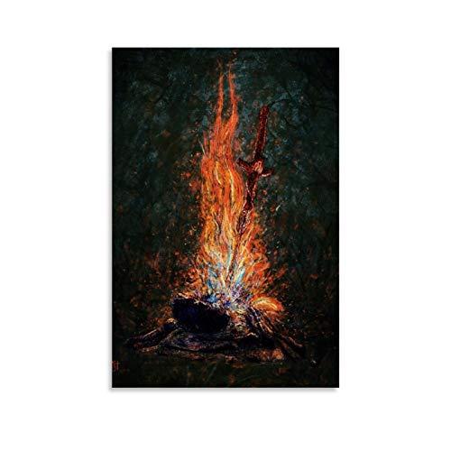 ZHENGDONG Poster sur toile « Dark Souls » et « Bonfire » - Art mural - Impression moderne - Décoration de chambre de famille - 30 x 45 cm
