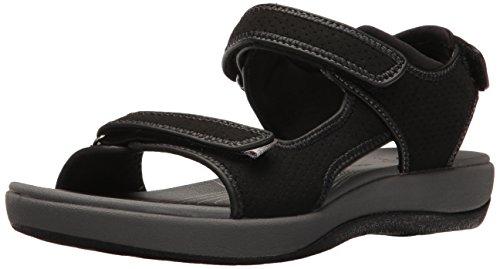 CLARKS Women's Brizo Sammie Flat Sandal, Black Perforated Microfiber, 6.5 B(M) US