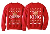King & Queen Matching His & Hers Crown Ugly Christmas Couples Set Sweatshirt Queen Red X-Large / King Red Large