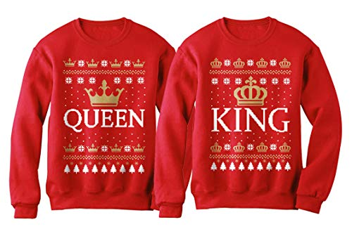 Conjunto de moletom para casais de Natal King & Queen combinando com a coroa dele e ela, Queen Red/King Red, Queen X-Large / King Small