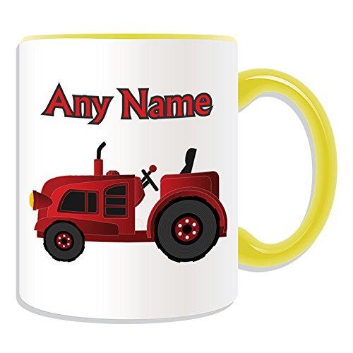 UNIGIFT gepersonaliseerd geschenk - rode trekker mok (transport ontwerp thema, kleur opties) - elke naam/bericht op uw unieke - bestuurder zwaar voertuig auto vrachtwagen boerderij HGV boer