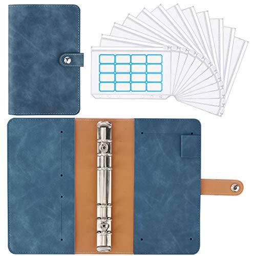 Housolution 6 Löcher Loseblatt Notizbuch, Binder Notebook aus PU Leder mit 12 Stück A6 PVC Binderumschlägen Etikettenaufklebern Binder Notizbuch Ringbuchordner - Denim Blau