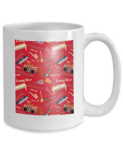 Rael Esthe Taza de café Personalizada 11 Oz Regalos de cerámica Taza de té Larga Vida Rock Roll Instrumentos Musicales Piano de Cola batería Guitarra bajo Saxo Contrabajo Creativo
