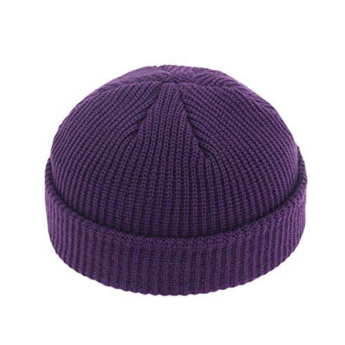 Gorro de Punto cálido de Invierno Gorro de Hip Hop Corto Casual Gorro de Hombre Adulto Gorro de Punto Gorro elástico Unisex-Purple-One Size