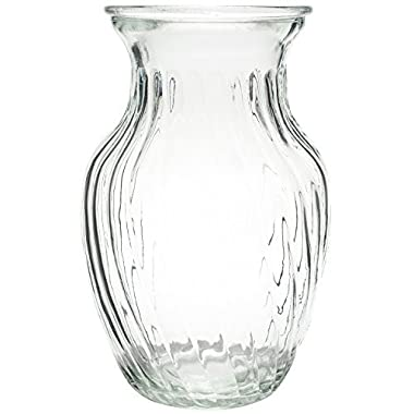 Royal Imports Flower Bunch Glass Vase Decorative Centerpiece For Home or Wedding by Swirl Style - 8  Tall, 4  Opening, Clear