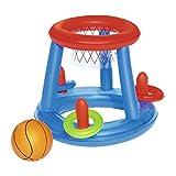 Canestro per giochi in piscina, valvole di sicurezza, vinile resistente pretestato Progettato per uso in acqua, include una palla e 3 anelli Contenuto: 1 canestro per giochi in piscina, 1 palla e 3 anelli