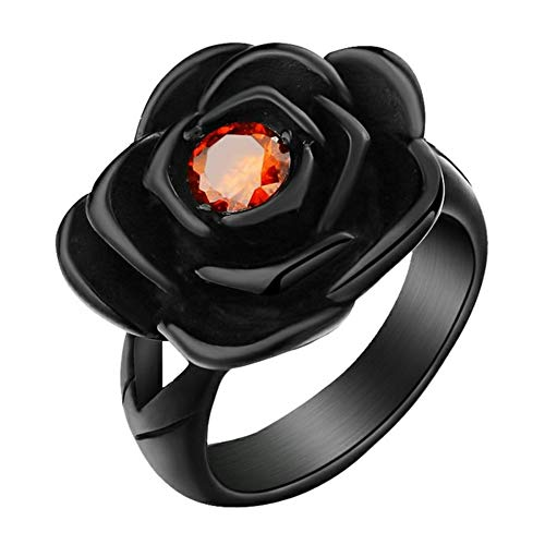 Valily vrouwen roos bloem ring redstone ring voor mannen roestvrij staal mode liefde trouwringen anillos para las mujer
