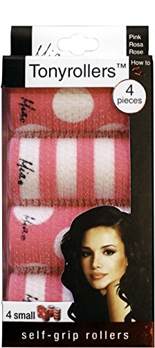 Mia Tonyrollers, Self Gripping Hair Rollers, Hair Curlers, Printed Pink and White Polka Dots + Stripes, For Women, Girls, Sleep Overs, Slumber Parties, BFFs, Small Size 4pc