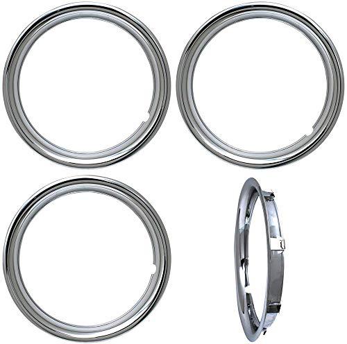 OxGord Trim Rings 18 inch Diameter (Pack of 4) Chrome ABS Plastic Beauty Rims Wheel Hub