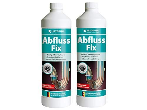 HOTREGA Abfluss Fix 1 L - Abfluss-Reiniger Konzentrat, gegen Rohrverstopfungen - 2 Stück