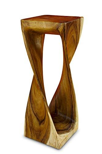 Kinaree Akazie Massivholz Beistelltisch Twist - 76cm gedrehter Holzhocker auch als Blumenständer geeignet