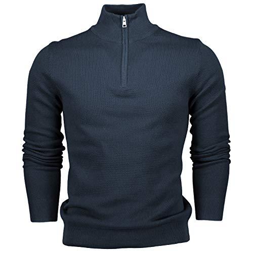 Hann Brooks Mens Long Sleeve Cotton Pique Half Zip Sweatshirt Sweater Top...