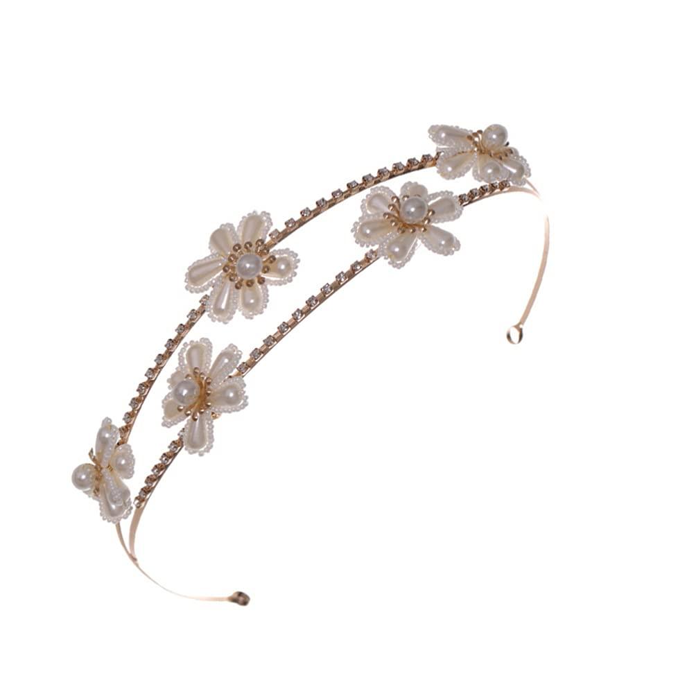 Beaupretty White Pearl Headband Headband Statement Hairband Hair Accessories (Golden)