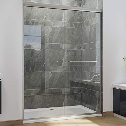 "SUNNY SHOWER Semi-Frameless Shower Door 1/4""(6mm) Glass Sliding Shower Enclosure 54"" W x 72"" H Shower Glass Door, Brushed Nickel Finish"