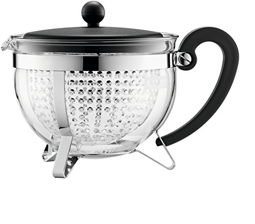 Bodum CHAMBORD Teekanne (Farbiger Plastikdeckel, Filter, Hitzebeständig, 1,3 liters) schwarz