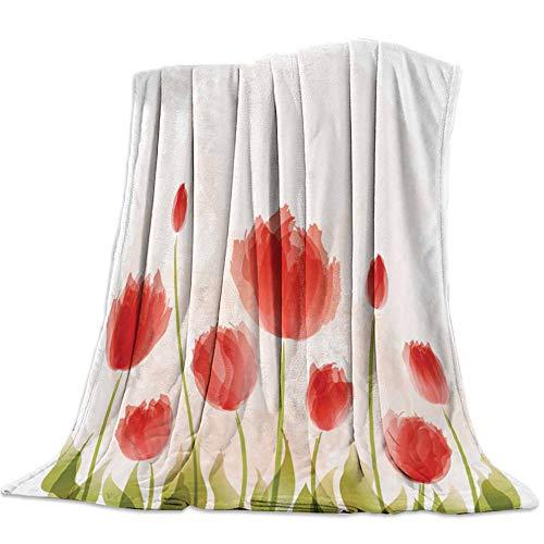 Bedsure Franela Mantas Mantas para Sofá nfantil 3D Estampado Pelusas Extra Suave Manta de Microfibra para Mantas de Sofá Oficina Fácil De Cuidar- Ligera, Cálida130x150CM-Flor de tulipán