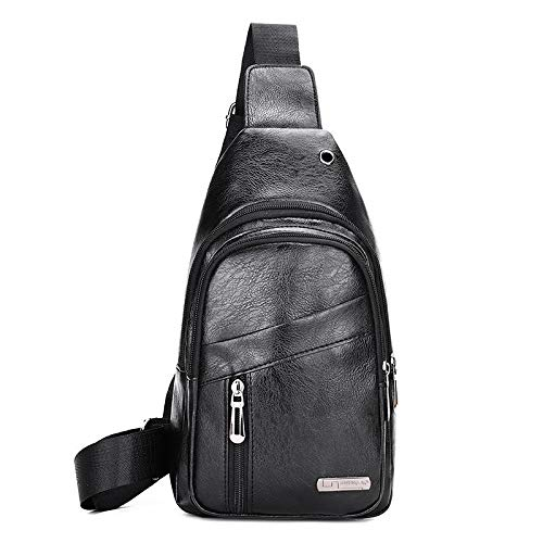Bolso de hombro hombre cuero vintage Adecuado para viajes escolares y deportes al aire libre bolso de hombro bolso de hombre bolso de hombro hombre pequeño bolso hombre cuero (negro)