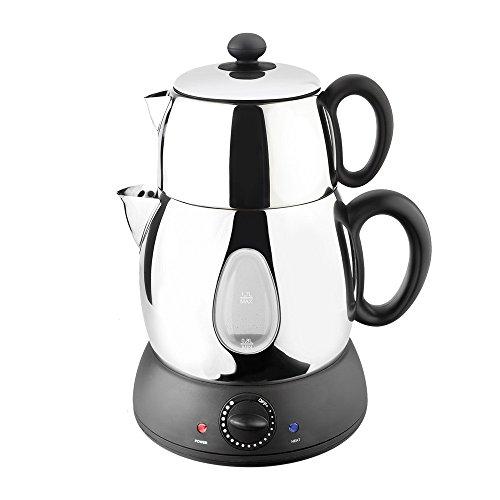 Schäfer türkischer Teekocher | elektrischer Tee- und Wasserkocher mit 1,7 Liter Caydanlik und 0,6 Liter Demlik
