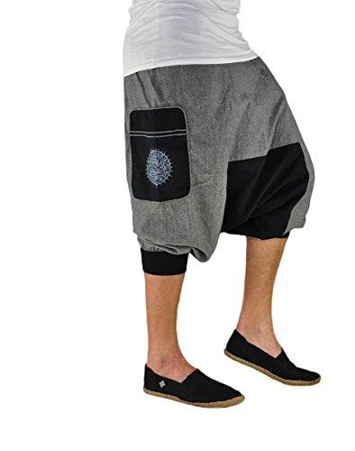 virblatt - Harem Shorts Men | 100% Cotton | Short Cotton Pants Men Boho Shorts Casual Beach Genie Hippie - Kleiner Bruder Grey L-XL