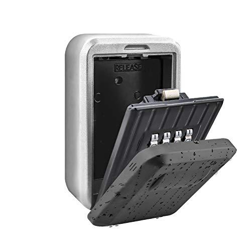 BenRich Outdoor Key Safe Wandmontage, 10-stelliges Kombinationsschlüsselschloss Externe Aufbewahrungsbox mit Druckknopf-Gummiabdeckung für ältere Pflegepersonen mit Haustür