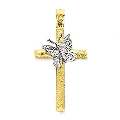 14K oro de dos tonos Cruz colgante, diseño de mariposas abierto Espalda