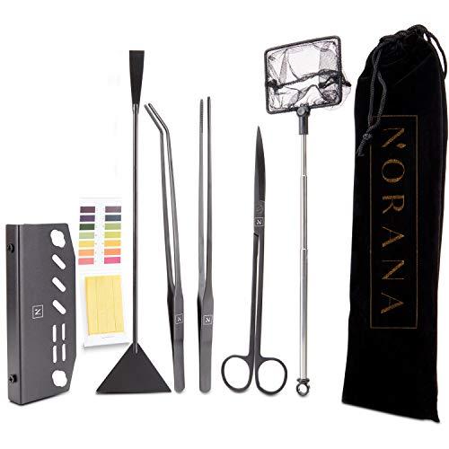 NORANA - Aquascaping Set [inkl. Schere I Pinzette I Kescher I pH-Test] Hochwertiges Aquarium Werkzeug I Aquarium Zubehör mit Aquarium Schere