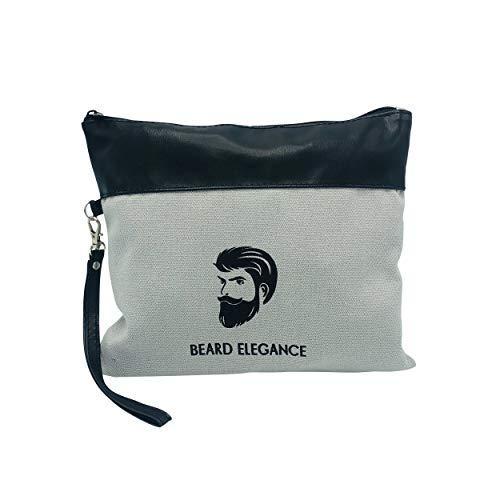 BEARD ELEGANCE Kultur-Tasche - Hochwertiger Waschbeutel Aus Canvas-Stoff - Ideal Für Die Bart-Pflege-Produkte Auf Reisen - Kultur-Beutel Mit Reißverschluss