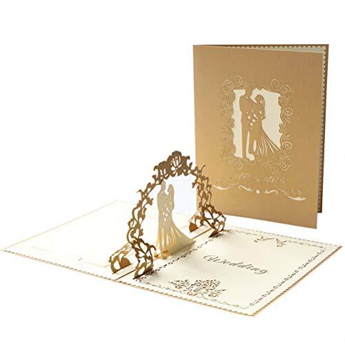 Trouwkaarten 3d Pop-up Kaart, Handgemaakte Romantische Kaart Trouwen Wensen, Verjaardag, Knoop De Knoop Uitnodigen Cadeaubon Envelop Felicitaties Aan Bruid En Bruidegom, Koppels (Huwelijksceremonie)
