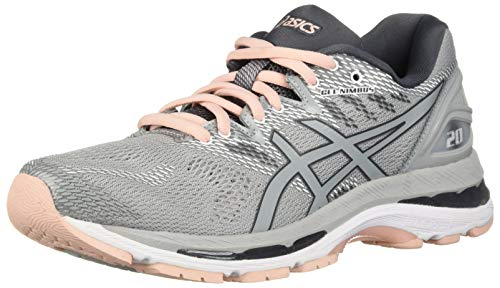 ASICS Women's Gel-Nimbus 20 Running Shoe, mid grey/mid grey/seashell pink, 10...