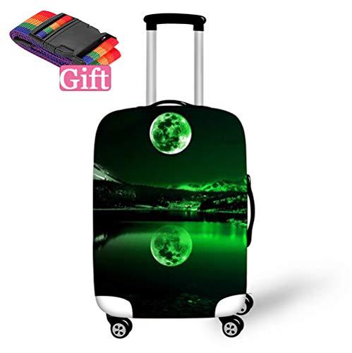 TINE elastische kofferbeschermhoes, 3D-print, Earth Design, kofferhoes met ritssluiting, kofferbeschermer, reizen, kofferhoes, bagage cover voor 18 – 32 inch, groen