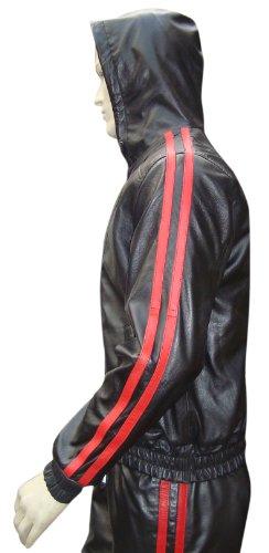Sur Mesure en Cuir sur Mesure – Cuir Track Suit Veste avec Deux Bandes Rouges - - Large