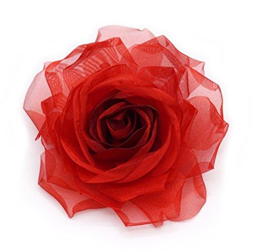 Brosche mit roter Blume, Stoff aus Organza und Satin.