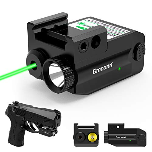 Gmconn Green Laser Sight,350 lm Gun Flashlight with Green Sight for Pistol,Compact Rail Mount Tactical Flashlight, USB Rechargeable Weapon Light with LED and Green Laser, for Pistols/Handguns