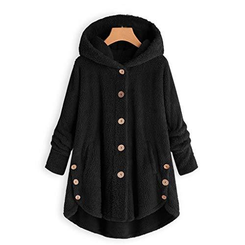 iHENGH Damen Herbst Winter Bequem Mantel Lässig Mode Jacke Frauen Knopf Mantel Flauschige Schwanz Tops Mit Kapuze Pullover Lose Pullover (M, Schwarz)
