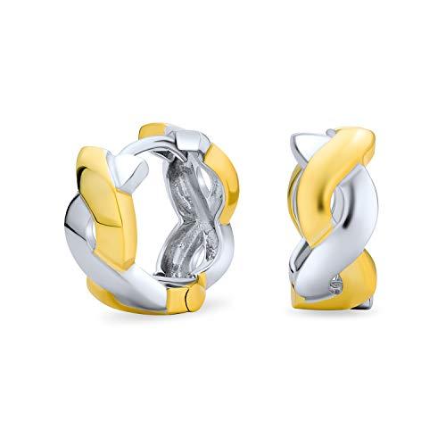 Dos tonos Infinity Twist cuerda Kpop Huggie aro pendientes para mujeres para hombres 14K chapado en oro 925 plata de ley