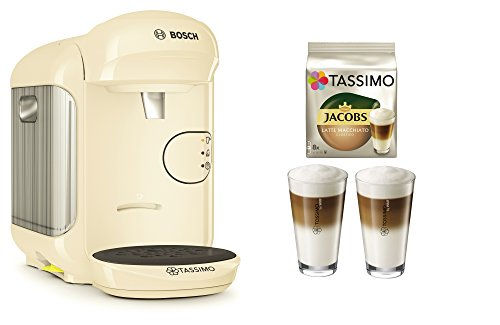 Bosch TASSIMO Vivy 2 Bundle + Latte Macchiato Gläser Set + TDisc Latte Macchiato (Creme)