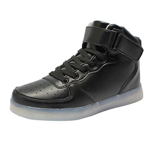 MagiDeal Chaussures LED Lumineux USB Garçon Fille Homme Femme Noël Fête Sport Courses - Noir, 35