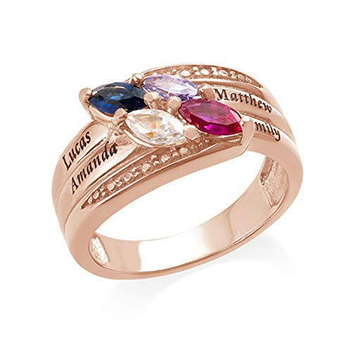 Anillo de nombre DIY personalizado 4 anillos de piedra natal anillo familiar anillo de plata esterlina 925 Navidad para madre(Chapado en oro rosa de 18 k 15.5)