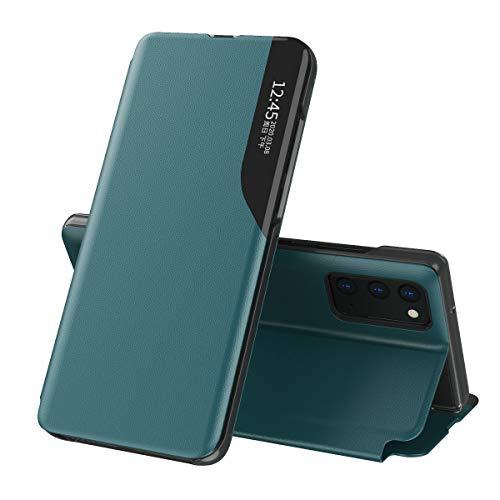 Oihxse Smart View Cover compatible con Samsung Galaxy A70/A70S Funda de piel con [ventana de vista] [función atril] Ultra ligera, antigolpes, inteligente Flip Case ,Verde