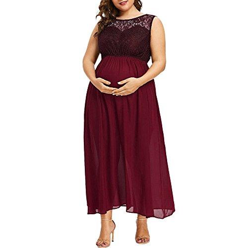 LOPILY Spitzenkleid Damen Sommer Ärmellos Umstandskleid Schwangerschafts Kleid mit Spitze Übergröße Bequem Freizeit Chiffon Maxikleid Sommerkleider(Weinrot,DE-44/CN-XL)