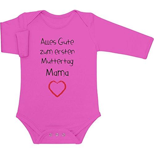 Shirtgeil Alles Gute zum ersten Muttertag Mama - Geschenk für Mutter Baby Langarm Body 12-18 Monate Wow rosa