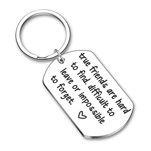 WANM Friendship Keychain Key Ring Gifts For Best Friends Women Men Birthday Sisters Brothers Key Chain True Friends Are Hard To Find Alloy pendant