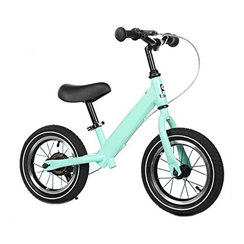 JLXJ Bicicleta Sin Pedales Equilibrio 12 Pulgadas Sin Pedal Bicicleta de Equilibrio con Freno de Mano, Niños Caminando en Bicicleta para La Altura del Niño: 90-120 Cm, Carga: 50kg. (Color : Green)