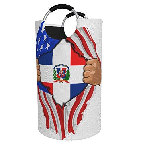 Cesta de lavandería redonda, bandera de la República Dominicana, cesto de lavandería, cubo plegable, bolsa de ropa, contenedores de almacenamiento para dormitorios, organizador de juguetes, clasificad