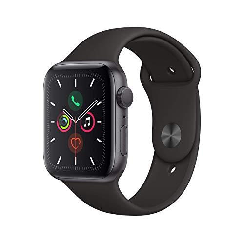 Apple Watch Series 5 44mm (GPS) - Aluminiumgehäuse Space Grau Schwarz Sportarmband (Generalüberholt)
