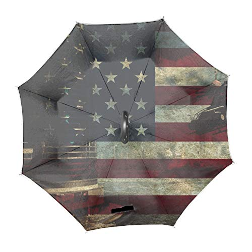 Folding Reverse Umbrella for Car Rain Outdoor Self Stand Upside Down with C-Shaped Handle PYFXSALA Red and Blue Fire Windproof Inverted Umbrella Double Layer UV Protection